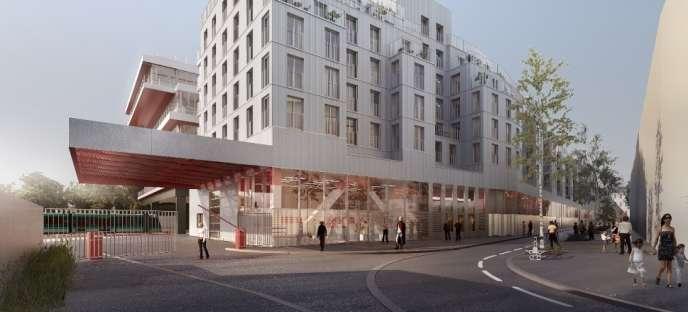 Les futurs logements sociaux sur le site des Ateliers Vaugirard de la RATP, le long d'une rue créée par l'opération d'aménagement.