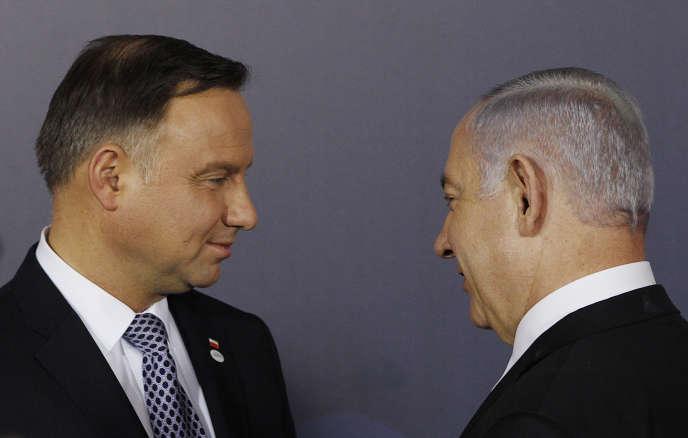Andrzej Duda, le président polonais, et Benyamin Nétanyahou, le premier ministre israélien, à Varsovie, le 13 février.