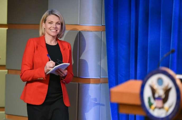 Heather Nauert, ancienne présentatrice de Fox News et porte-parole du département d'Etat, le 29mai 2018, à Washington.