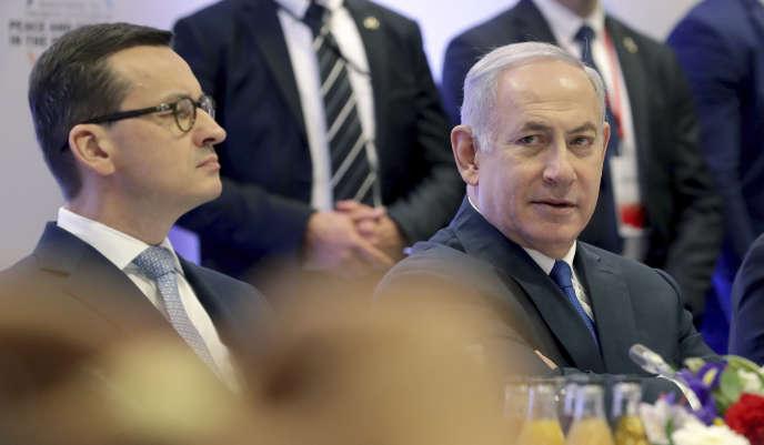 Le premier ministre polonais, Mateusz Morawiecki (à gauche), et le premier ministre israélien, Benyamin Nétanyahou, à Varsovie, en Pologne, le 14février.