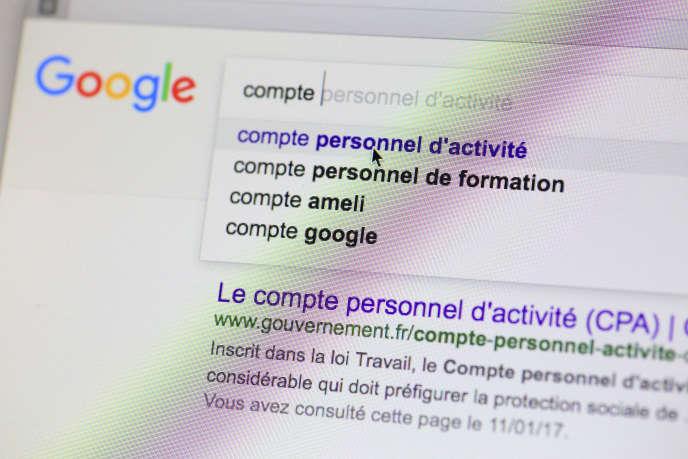 Recherche sur Google sur le thème du compte personnel d'activité Utilisation éditoriale uniquement, nous contacter pour toute autre utilisation