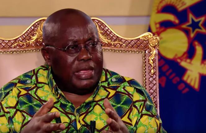 Le président ghanéen, Nana Akufo-Addo, lors de l'entretien accordé à TV5 Monde, en partenariat avec «Le Monde», au palais présidentiel, à Accra, le 17 février 2019.