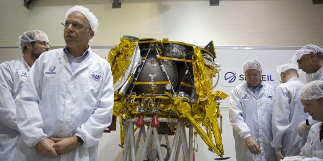 La sonde Beresheet, à Tel Aviv, en décembre 2018, avant son départ pour la Floride, son lieu de lancement.