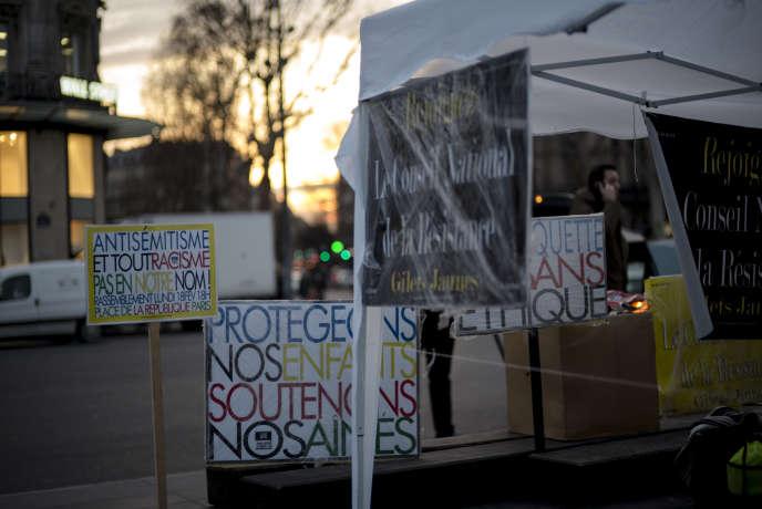 Rassemblement de« gilets jaunes»contre l'antisémitisme, place de la République, àParis, le 18février.