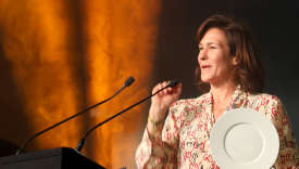 PARIS, FRANCE - FEBRUARY 18: Lara Gilmore receives the Ethical Thinking award at The World Restaurant Awards on 18th February 2019 at Palais Brongniart on February 18, 2019 in Paris, France.