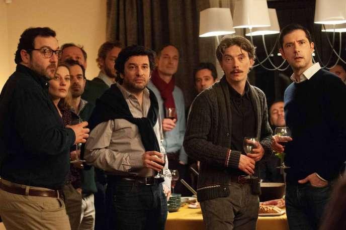 De gauche à droite : Denis Ménochet, Eric Caravaca,Swann Arlaud etMelvil Poupaud dans«Grâce à Dieu», de François Ozon.