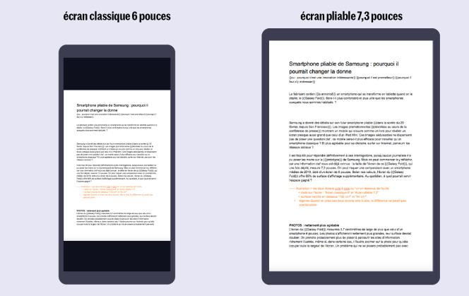 En mode portrait, les pages A4 seront beaucoup plus lisibles sur le Galaxy Fold que sur un mobile ordinaire. Bien sûr, on peut basculer l'écran du smartphone 6 pouces enmode paysage pour agrandir les caractères du document A4, mais le texte s'affiche sur sept petits centimètres de hauteur, ce qui est désagréable.