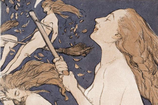 «Walpurgis Sabbath», illustration d'Adolf Munzer en couverture du magazine «Jugend» (1909).