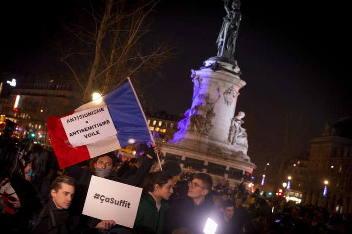 Rassemblement contre l'antisémitisme, place de la République, à Paris, mardi 19 février 2019.