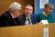 Pendant la conférence de presse de Jean-Pierre Sueur, Philippe Bas, Muriel Jourda, au Sénat, le 20 février.