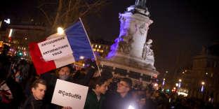 Rassemblement contre l'antisémitisme, place de la République, à Paris, le 19 février.