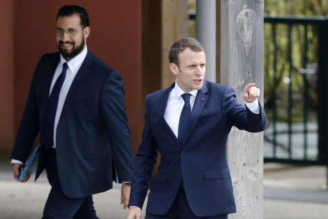 Alexandre Benalla et Emmanuel Macron, le 12 avril 2018.
