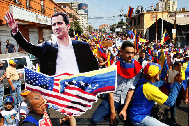 Manifestation des partisans du président autoproclamé vénézuélien JuanGuaidoàMaracaibo, le 12 février.