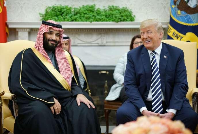 Le prince héritier Mohammed Ben Salman et le président américain Donald Trump, à la Maison Blanche, à Washington, le 20 mars 2018.