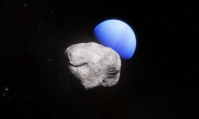 Montage numérique représentant Neptune (en bleu) et sa lune Hippocampe (au premier plan).
