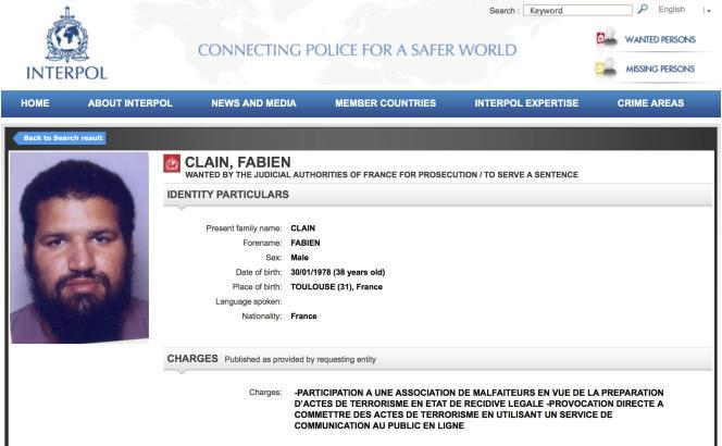 L'avis de recherche de Fabien Clain diffusé par Interpol.
