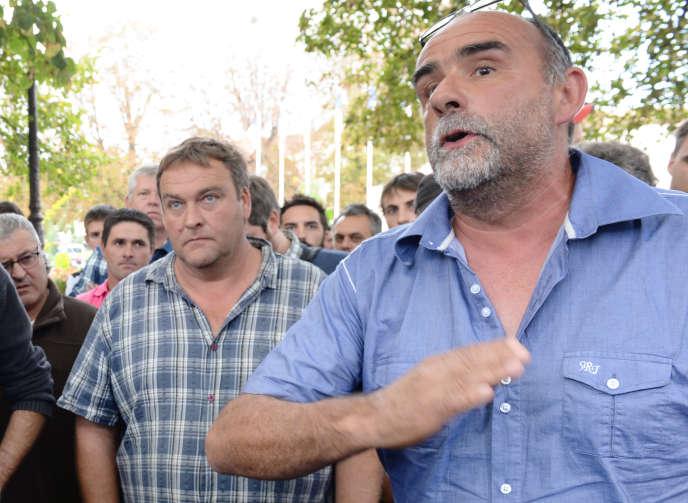 Le président de la chambre d'agriculture de Lot-et-Garonne, SergeBousquet-Cassagnelors d'un rassemblement à Agen, en 2014.