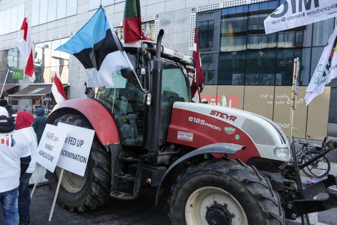 Manifestation d'agriculteurs à Bruxelles, en décembre 2018.