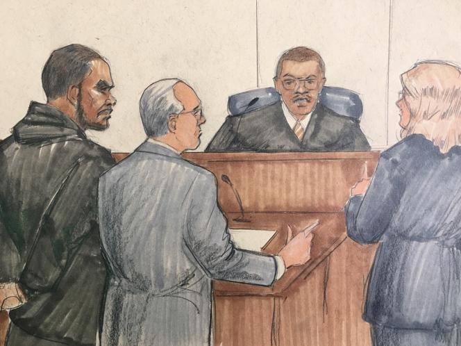 Un dessin d'audience avec R. Kelly présenté devant le juge à Chicago.