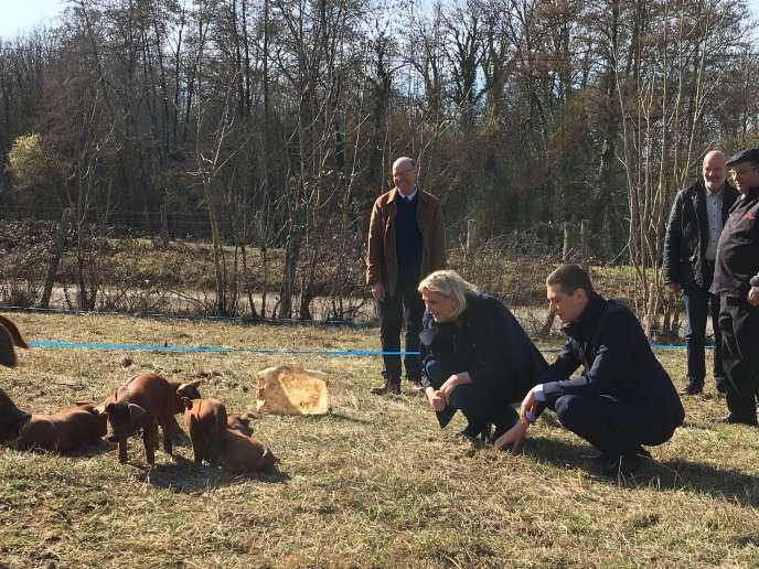 Marine Le Pen et Jordan Bardella ont visité une ferme, située en Haute-Marne, samedi 23 février.