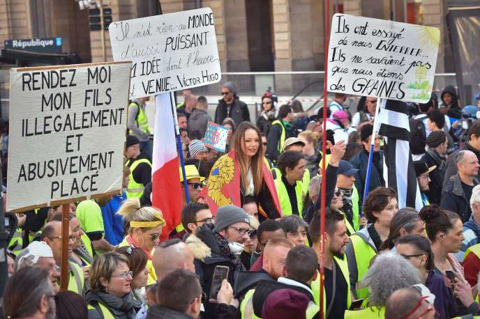 Manifestation de «gilets jaunes», à Rennes, le 23 février 2019.