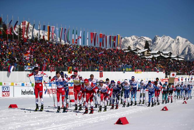 Des athlètes aux championnats du monde de ski de fond, à Seefeld (Autriche).