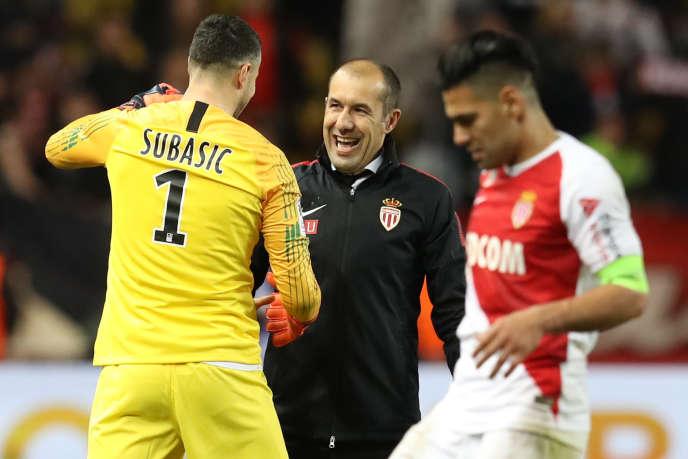 Danijel Subasic، Leonardo Jardim and Radamel Falcao after the victory of Monaco against Lyon، the 24 February 2019.