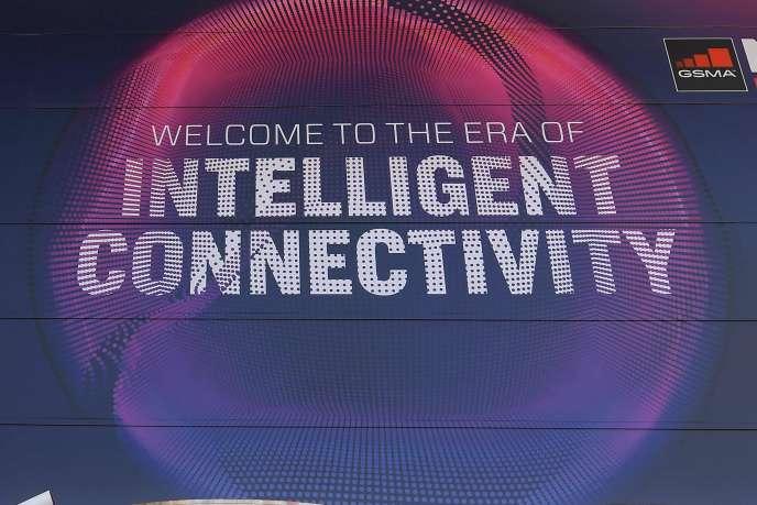 L'entrée du Mobile World Congress (MWC) de Barcelone, le 23 février.