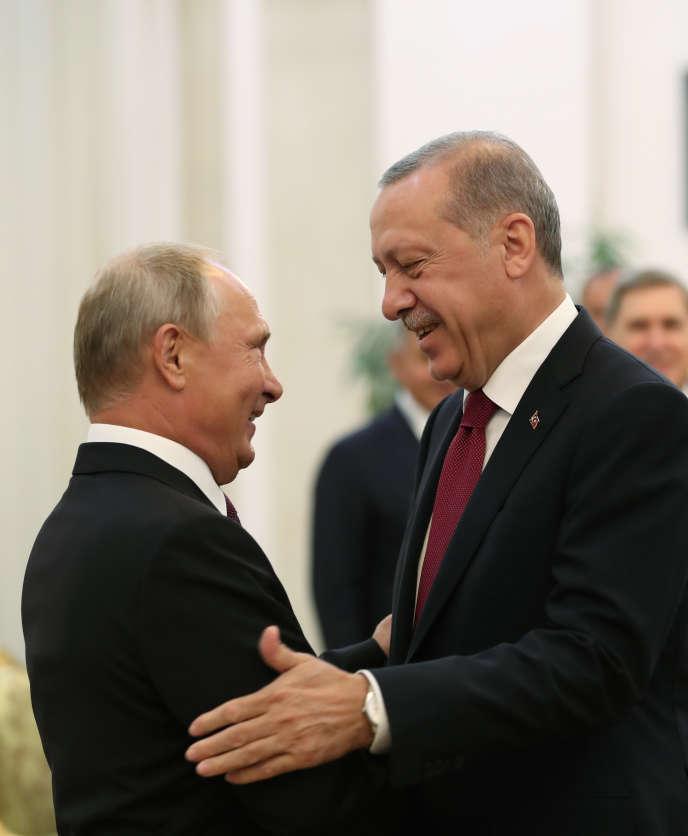 Le président russe Vladimir Poutine et le président turc Recep Tayyip Erdogan le 7septembre2018, lors d'une rencontre àTéhéran.