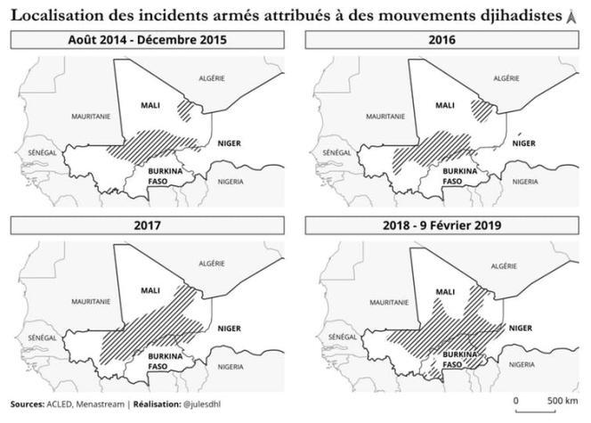 Les mouvements djihadistes sont Al-Qaida au Maghreb islamique (AQMI), Ansar Dine, le Mouvement pour l'unicité du djihad en Afrique de l'Ouest (Mujao), Al-Mourabitoune, le Groupe de soutien à l'islam et aux musulmans (GSIM), le groupe Etat islamique au Grand Sahara et Ansaroul Islam.