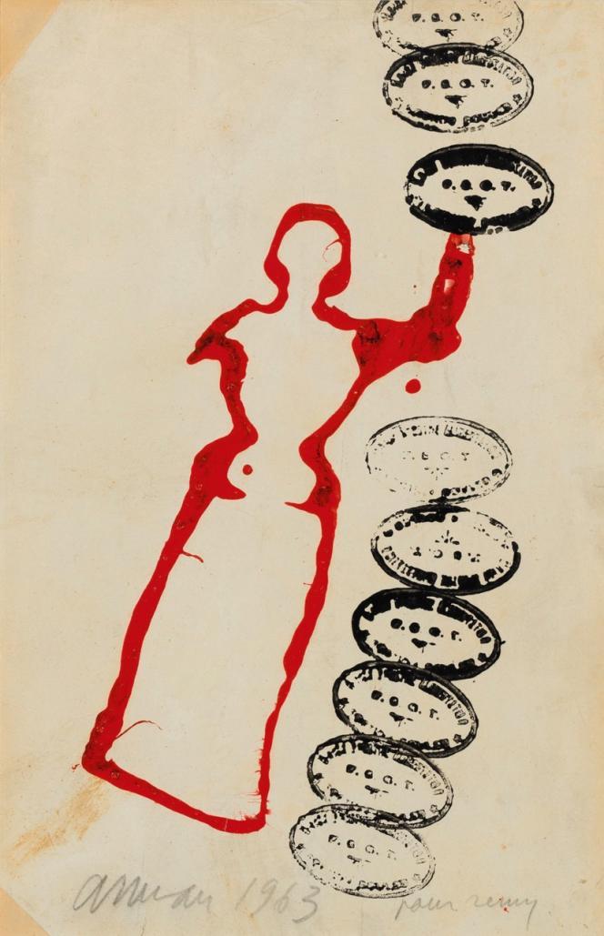 Arman, sans titre. Empreinte de statuette (1963), peinture sur papier au format 21 x 32,5 cm. Estimation: 5000‒ 8000 euros. Proposée en ligne du 15 au 25 mars par Sotheby's.