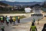 Affontements entre les forces de sécurité de Nicolas Maduro et les partisans de Juan Guaido, au Venezuela, le 24 février 2019.