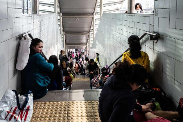 Des domestiques d'origine philippine, à Hongkong.