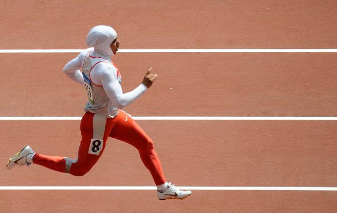 La sprinteusebahreïnienne Rakia Al-Gassra aux Jeux olympiques de Pékin, en2008.
