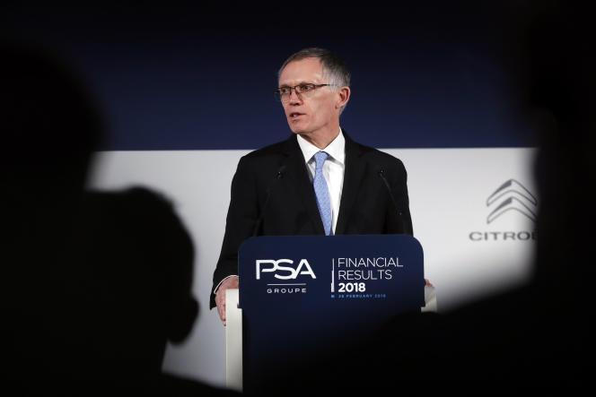 Le président du directoire de PSA, Carlos Tavares, présente les résultats 2018 du groupe à Ruel-Malmaison, le 26 février.