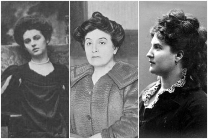 De gauche à droite : Renée Vivien (1877-1909), Marguerite Audoux (1863-1937) et Judith Gautier (1845-1917).