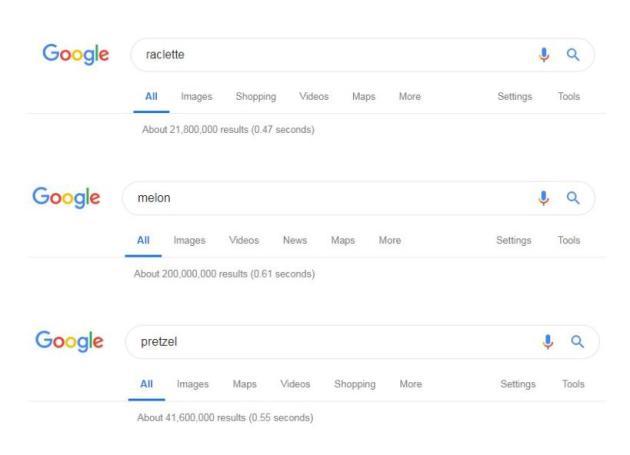 En nombre de résultats de recherche sur Google, le melon et le bretzel (pretzel en anglais) l'emportent largement sur la raclette.