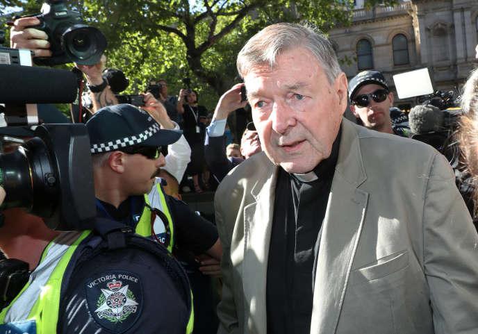 Le cardinal George Pell lors de son arrivée au tribunal de Melbourne mercredi 27février.