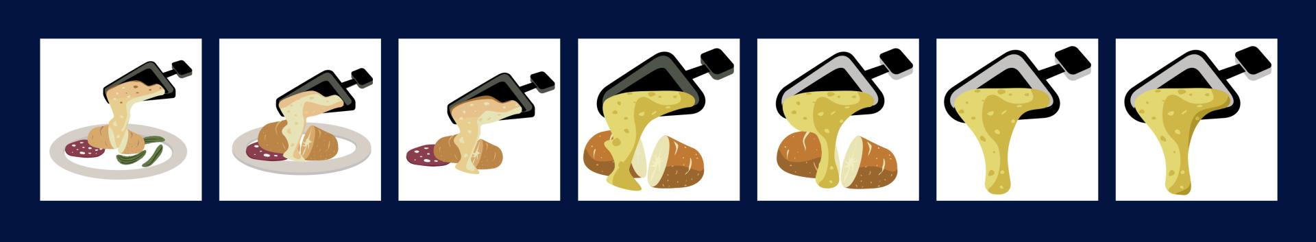 Le graphiste de Pixels a testé plusieurs façons de représenter une raclette en émoticône.