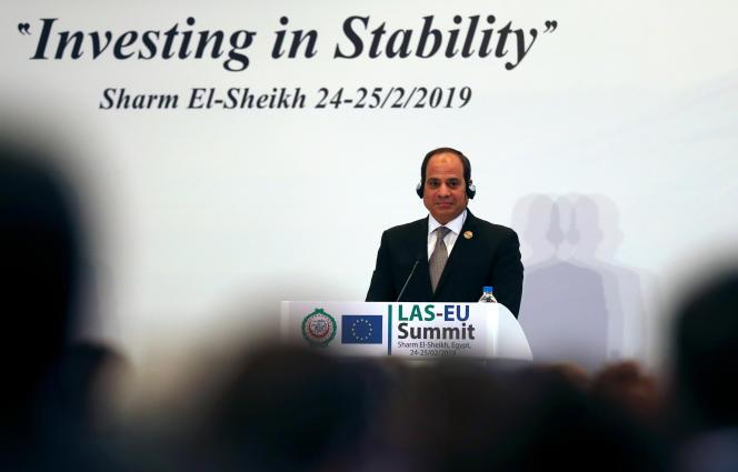 Le président égyptien, Abdel Fattah Al-Sissi, au sommet entre la Ligue arabe et l'Union européenne, à Charm el-Cheikh, le 25février 2019.