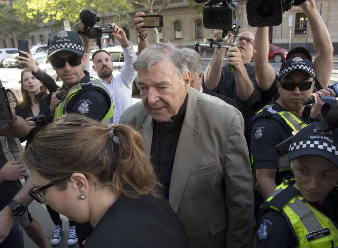 Cardinal George Pell at his arrival at the Melbourne Court on Wednesday 27 February.