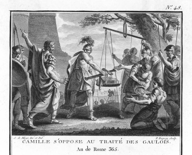 Camille (Marcus Furius Camillus), consul romain, s'opposant au traité avec les Gaulois (390 av. J.-C.). Gravure de Mirys (1742-1810).