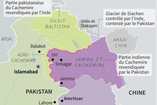 La situation au Cachemire,région disputée par l'Inde et le Pakistan