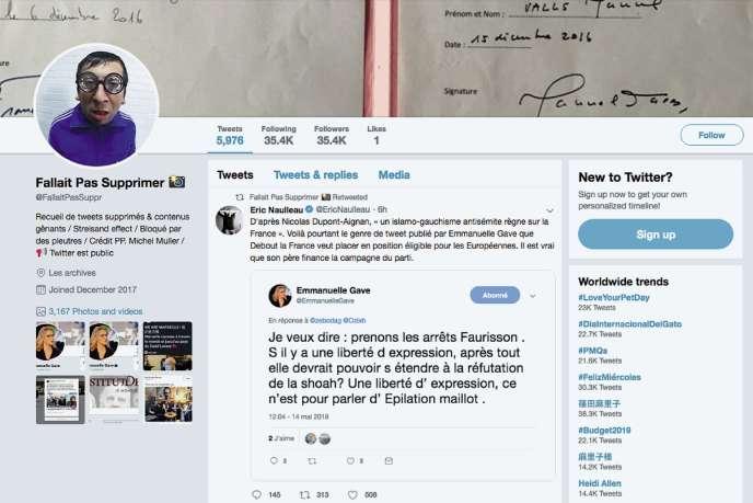 Le créateur du compte «Fallait pas supprimer», qui souhaite rester anonyme, recense et exhume les tweets embarrassants effacés par leurs auteurs.