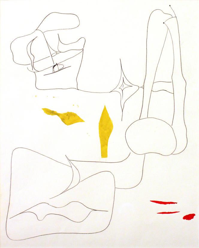 Sans titre, dessin préparatoire pour «Nude» (1945), d'Arshile Gorky, dessin au fusain et gouache sur papier.