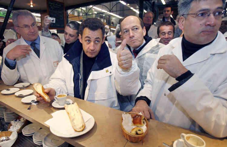 Visite du candidat Nicolas Sarkozy, le premier février 2007.