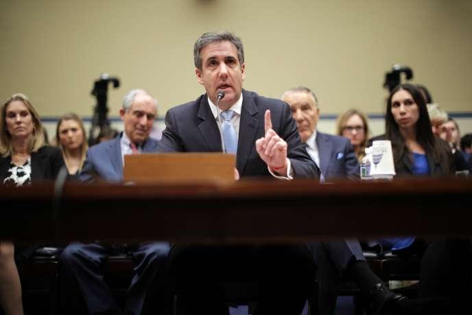 Michael Cohen lors de son audition par la commission d'enquête de la Chambre des représentants, à Washington, le 27février.