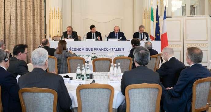 Le deuxième forum économique franco-italien, en présence du patron du Medef, Geoffroy Roux de Bézieux et de son homologue italien, jeudi 28 février, à Versailles.