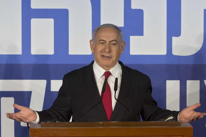 Lepremier ministreisraélien,Benyamin Nétanyahou, lors de son allocution télévisée àJérusalem, le 28 février.
