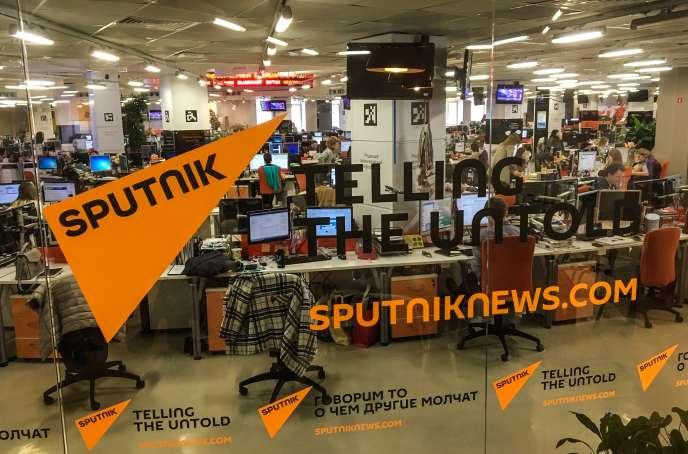 A l'agence d'Etat russe Sputnik, à Moscou, en avril 2018.